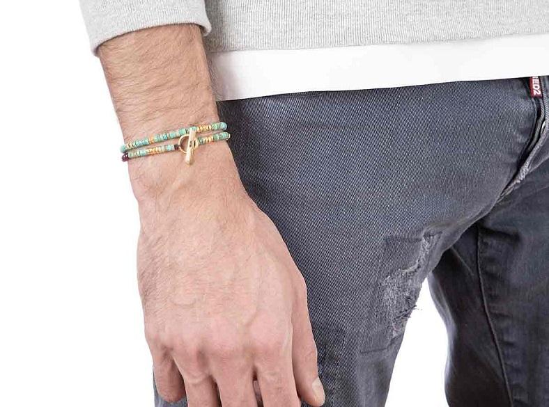 خرید دستبند طلا مردانه مهره ای