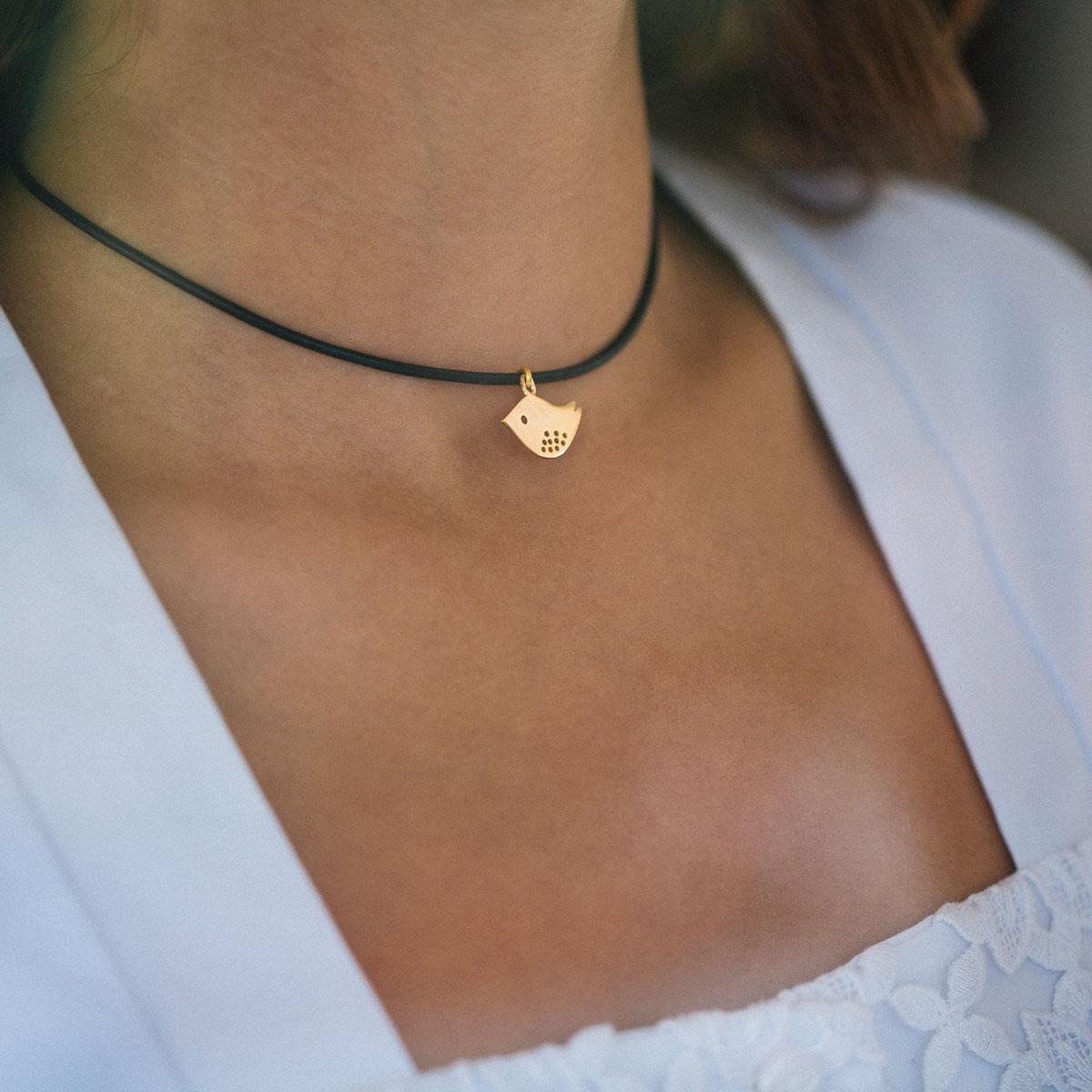 پرسته گردنبند طلا چرم گنجشک ۲