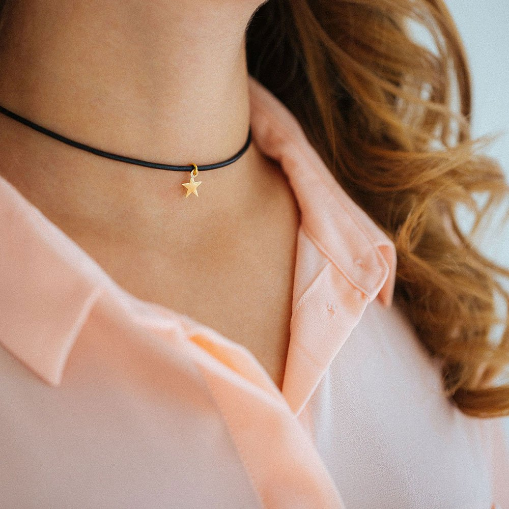 پرسته گردنبند طلا چرم ستاره کوچک