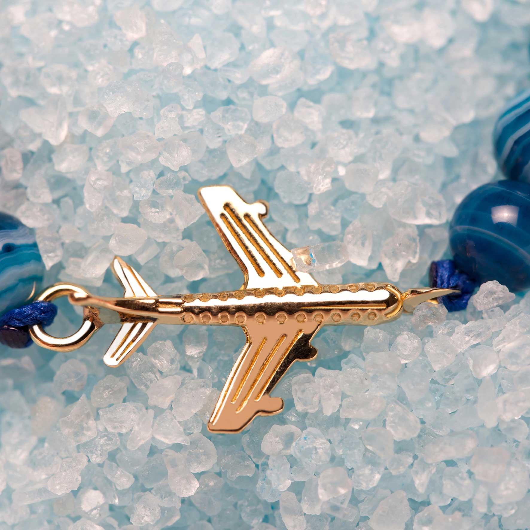 دستبند طلا بچه گانه سنگی هواپیما