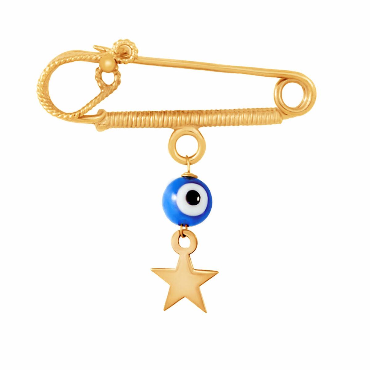 سنجاق سینه طلا ستاره با سنگ چشم نظر