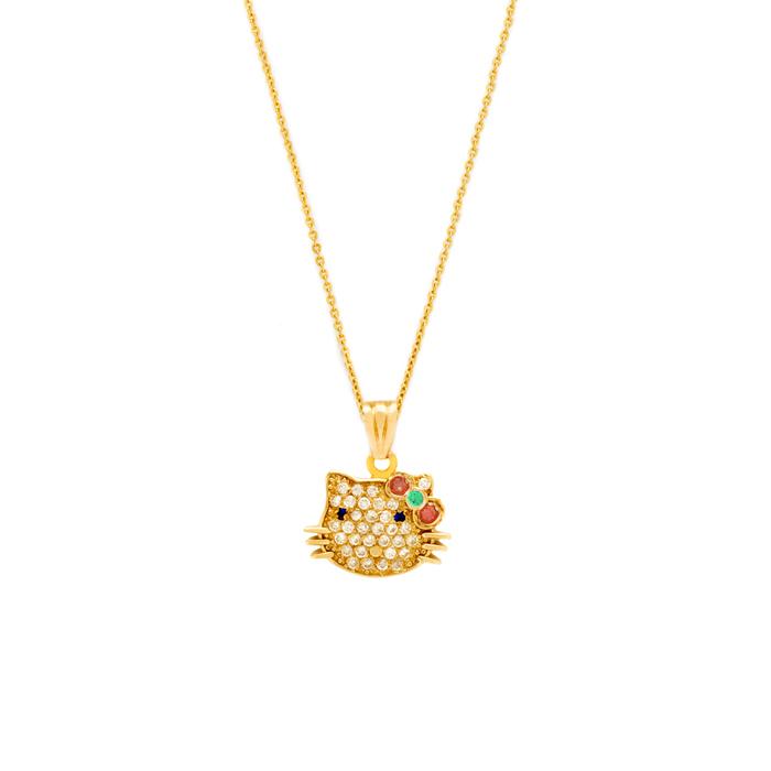 پرسته گردنبند طلا hello kitty
