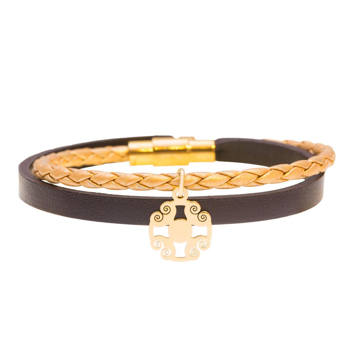 دستبند طلا چرمی اسلیمی
