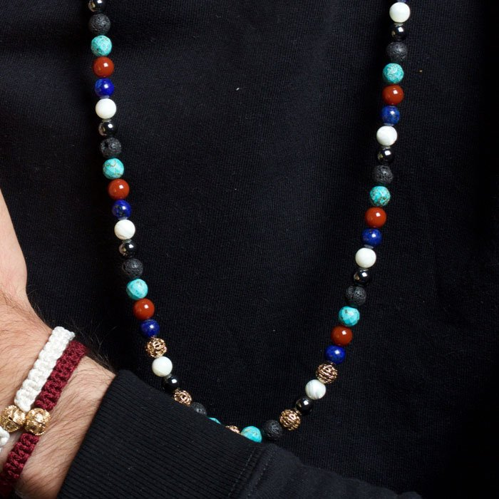 پرسته گردنبند طلا سنگی پنج گوی طرحدار