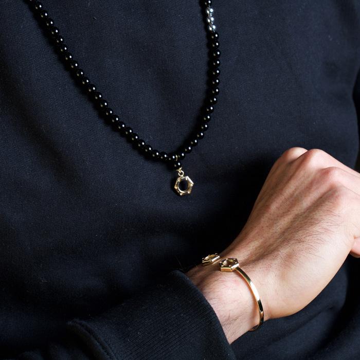 گردنبند طلا سنگی مهره