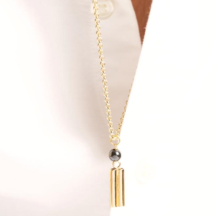 پرسته گردنبند طلا زنجیری دو استوانه