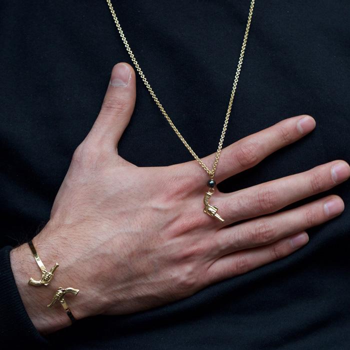 پرسته گردنبند طلا زنجیری تفنگ