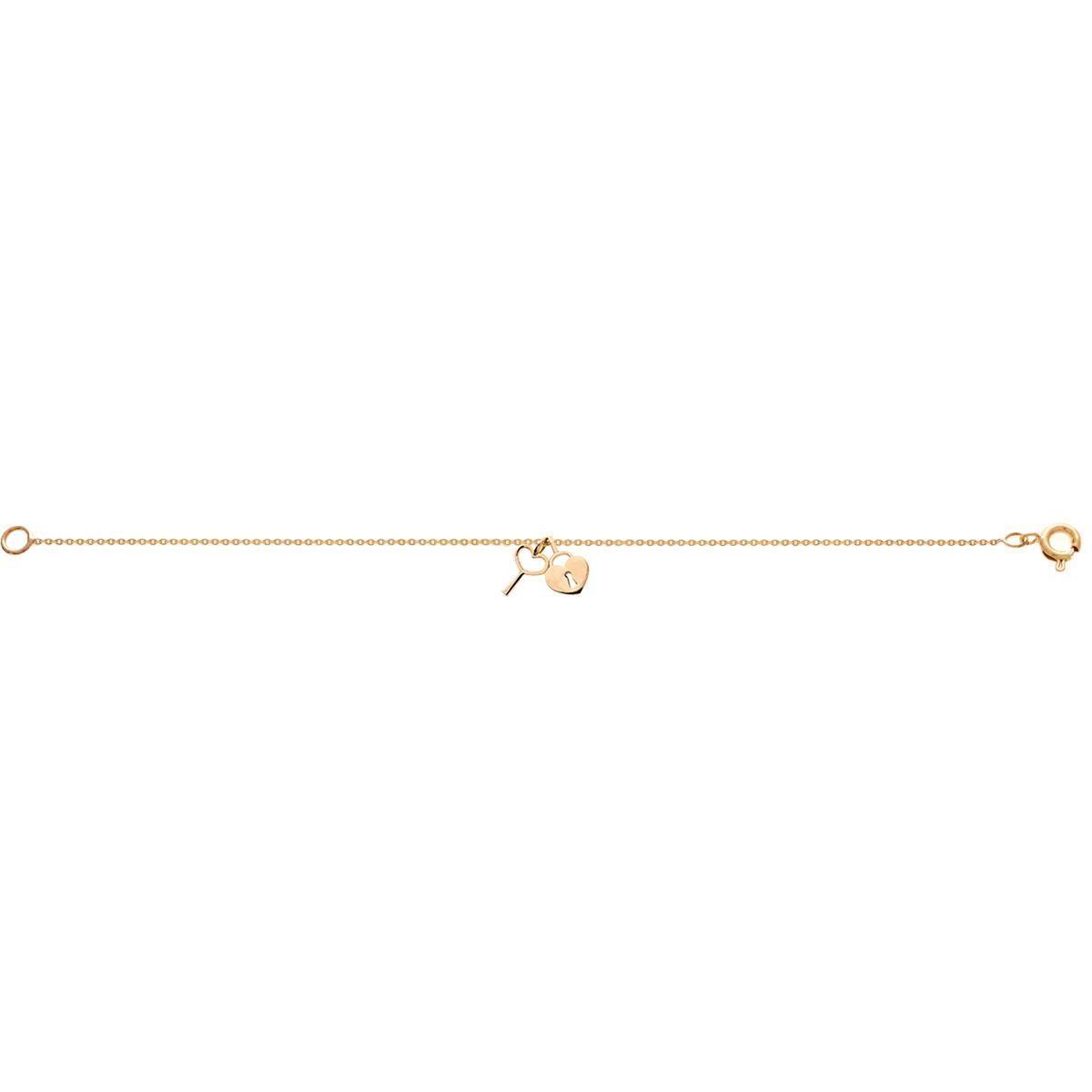 پرسته پابند طلا قفل قلب و کلید