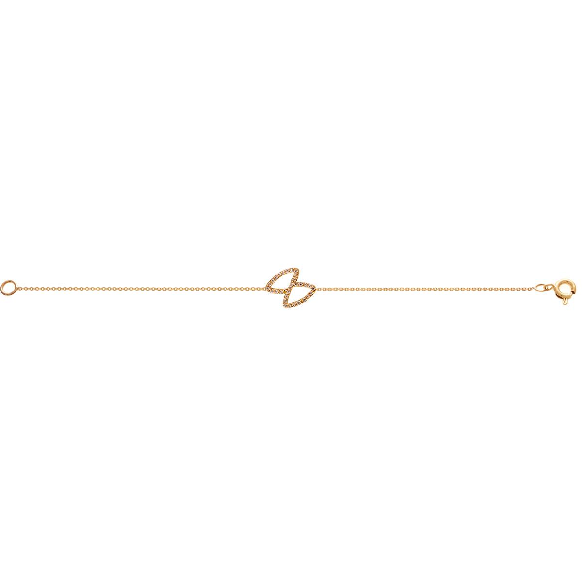 پرسته پابند طلا پاپیون نگین دار