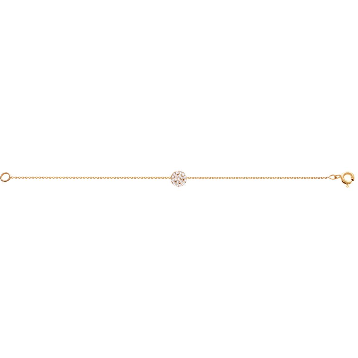 پرسته پابند طلا دایره نگین دار