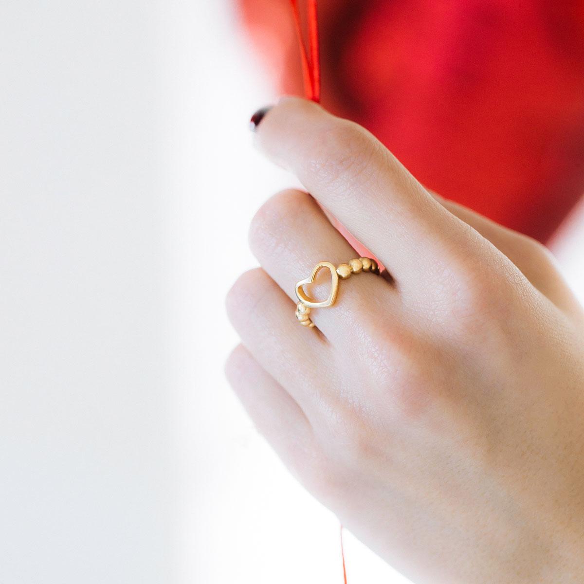 انگشتر طلا قلب توپ توپی 2