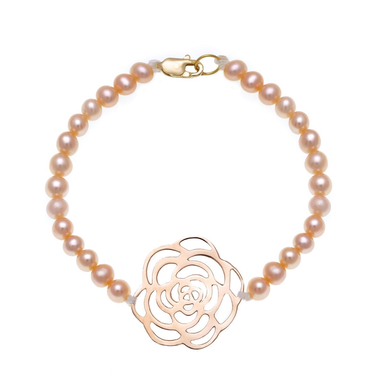 دستبند طلا گل رز بزرگ