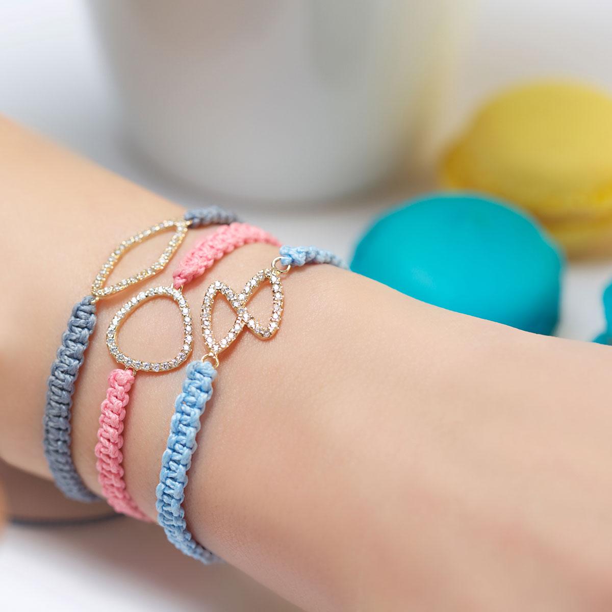 دستبند طلا مثلث دور نگین ۲