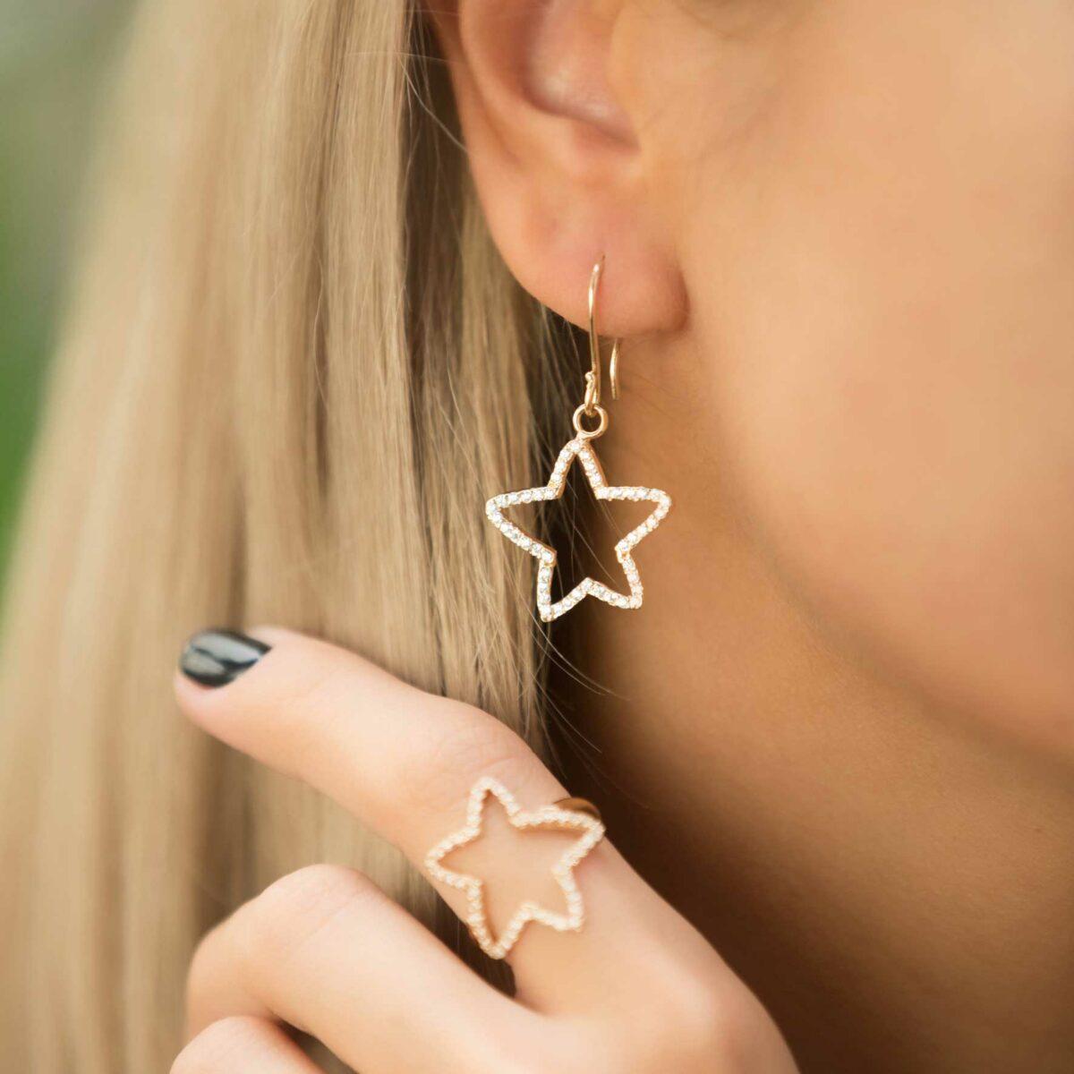 گوشواره طلا ستاره نگین دار