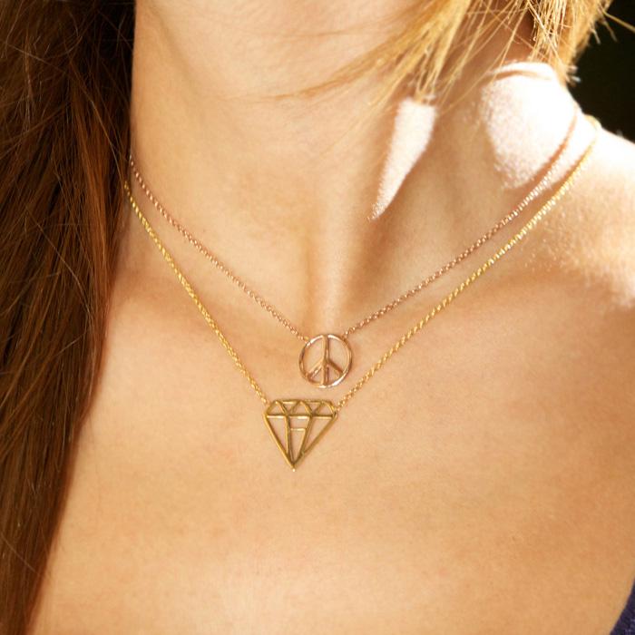پرسته گردنبند طلا الماس 2