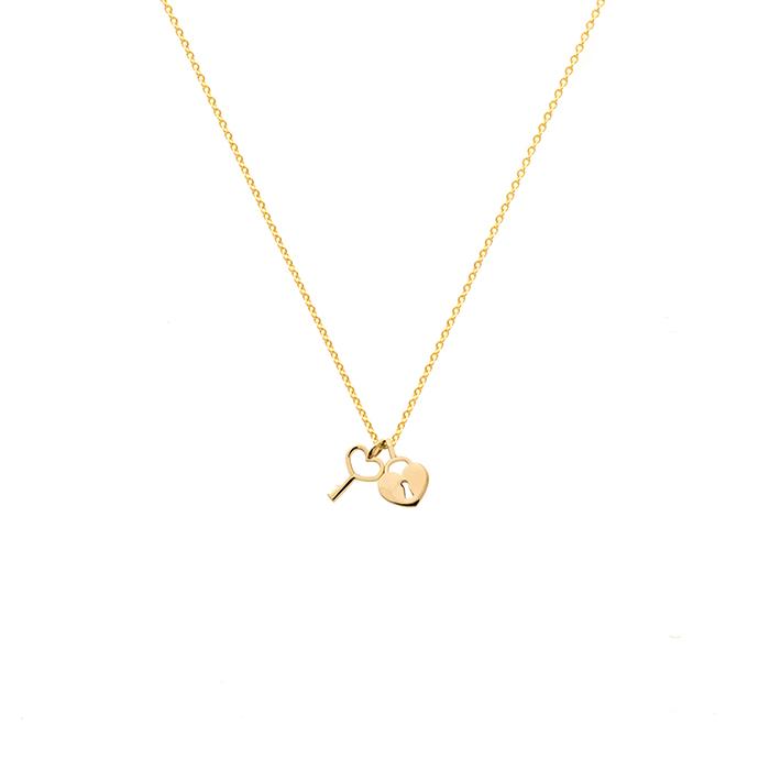 پرسته گردنبند طلا قفل قلب و کلید