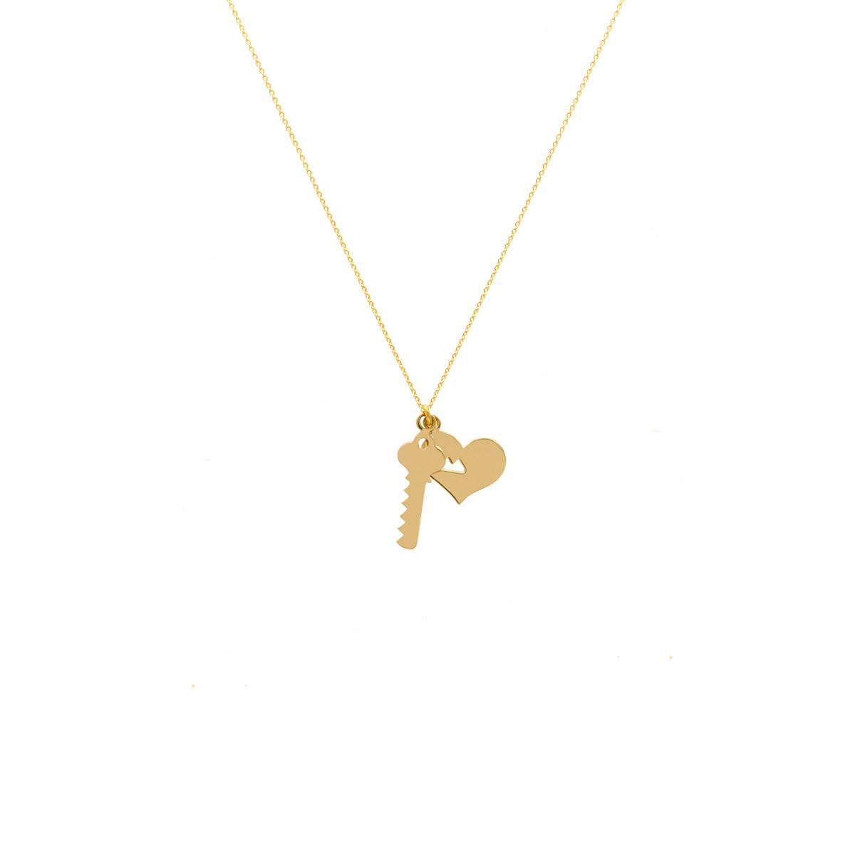 پرسته گردنبند طلا قلب و کلید