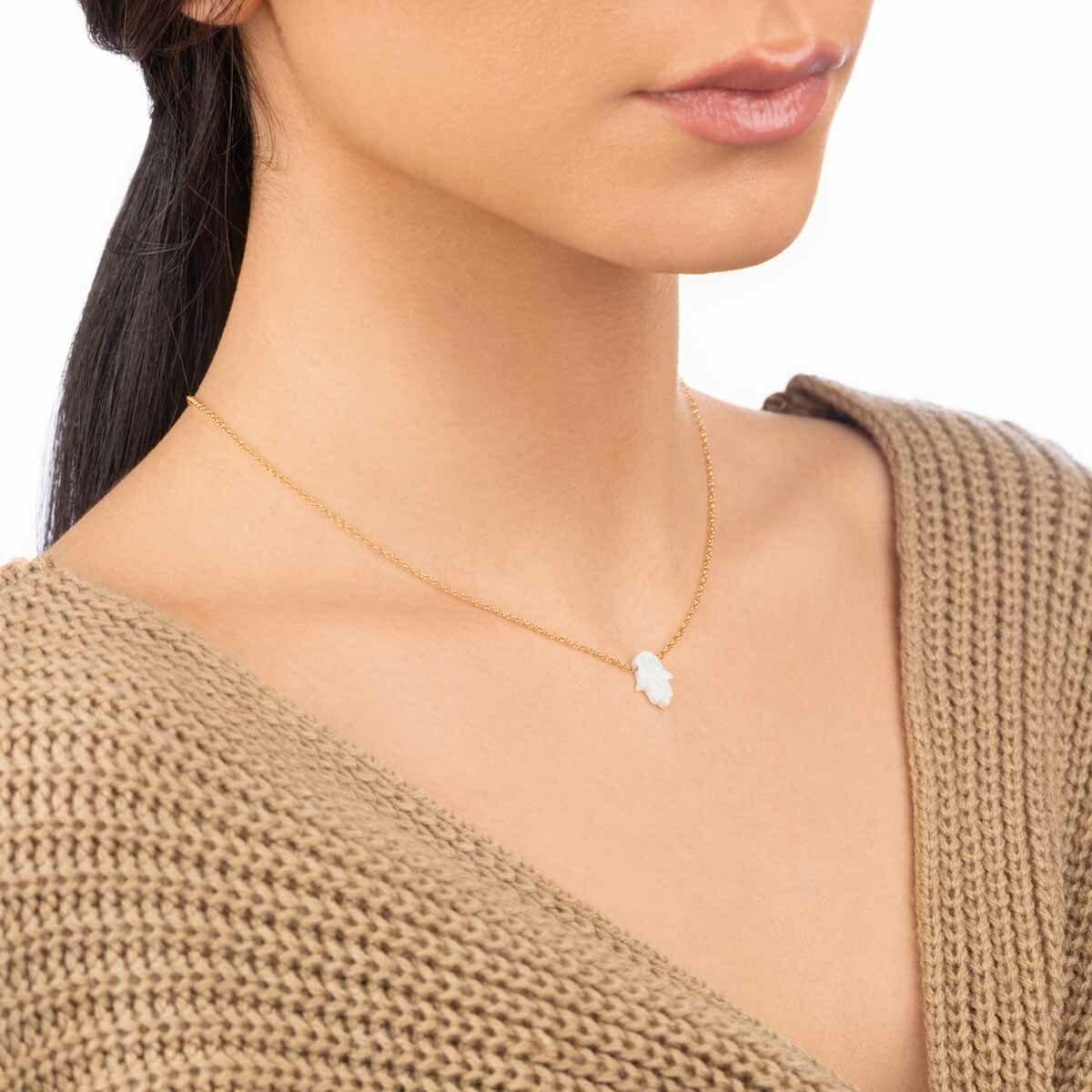 گردنبند طلا HAMSA سفید