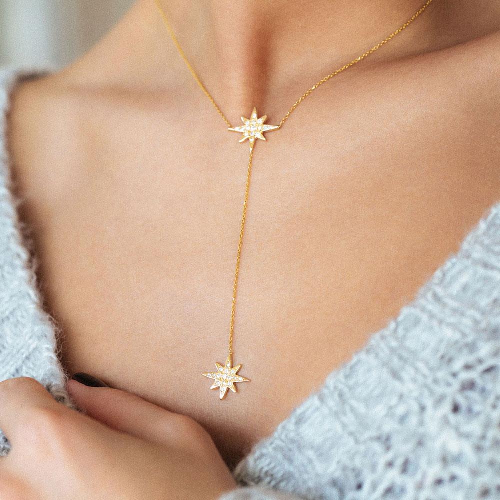 پرسته گردنبند طلا دو ستاره