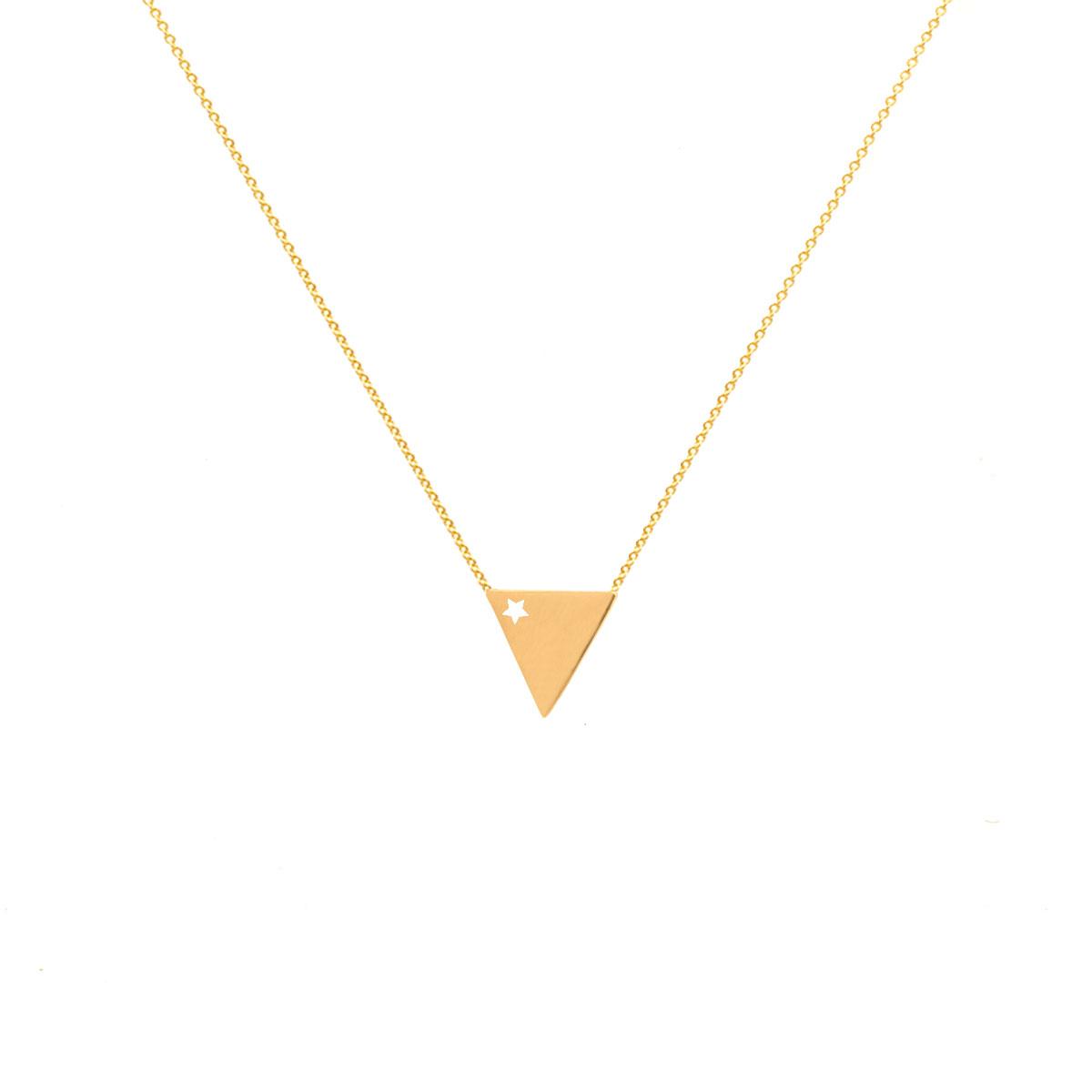پرسته گردنبند طلا مثلث نگین دار