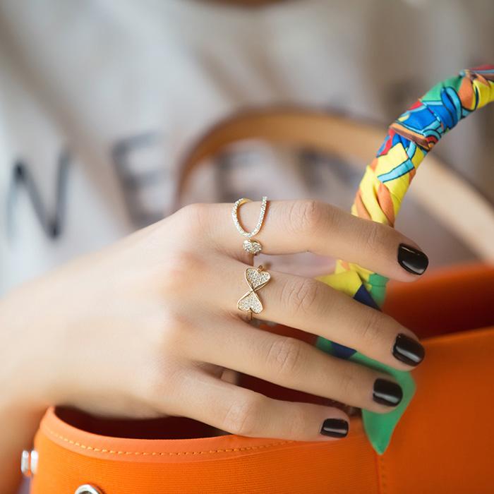 پرسته انگشتر طلا دو قلب نگین دار