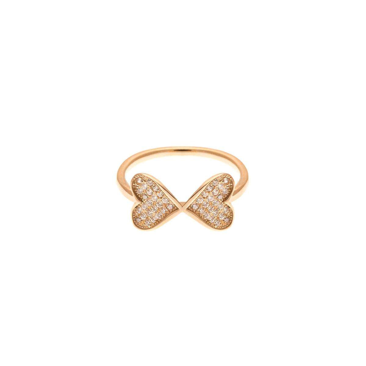 انگشتر طلا دو قلب نگین دار