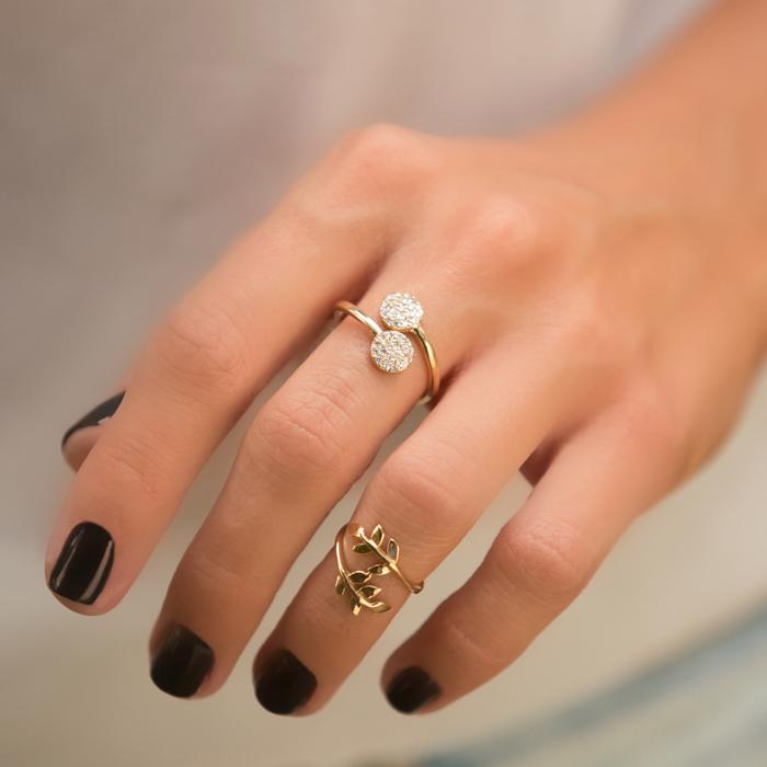 انگشتر طلا دو دایره نگین دار 3