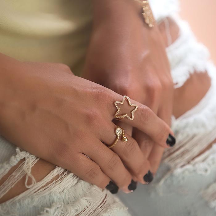 انگشتر طلا ستاره نگین دار 2