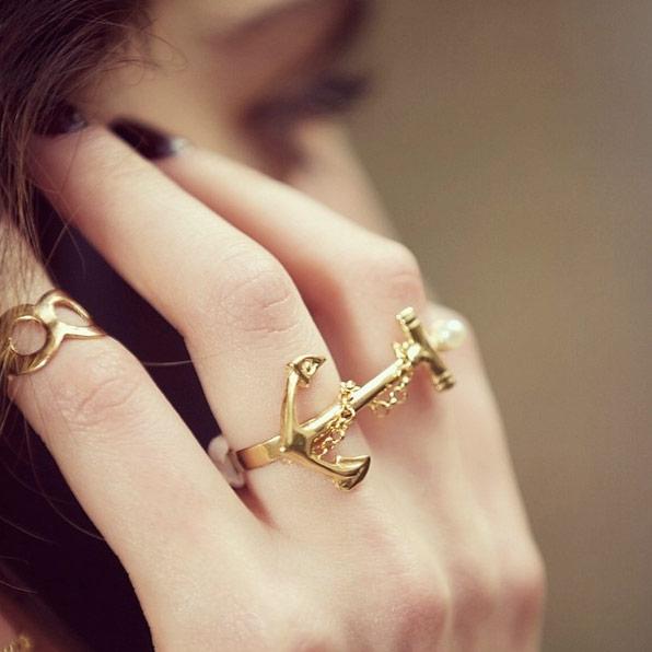 انگشتر طلا لنگر و مروارید