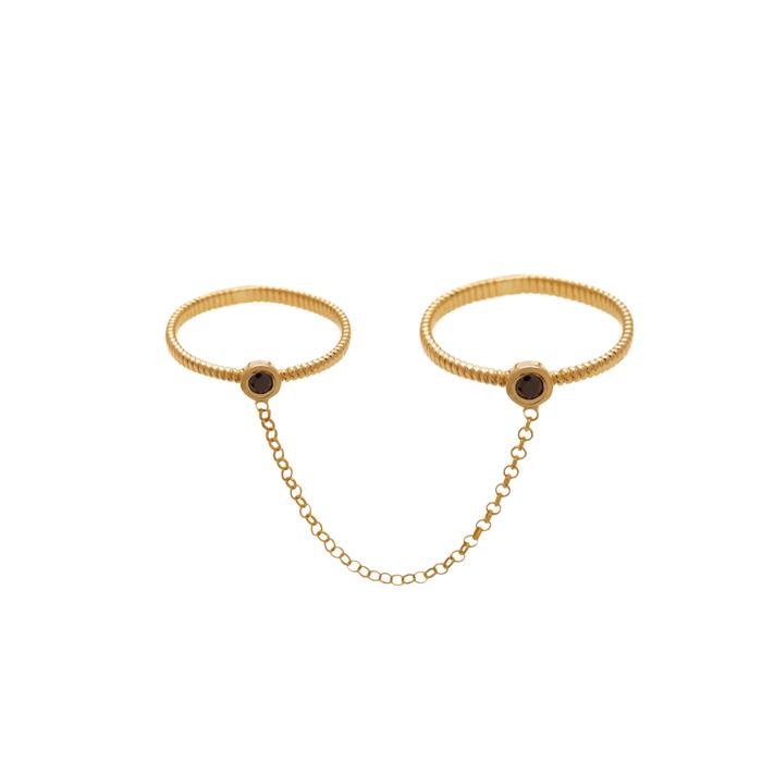 حلقه طلا تک نگین متصل