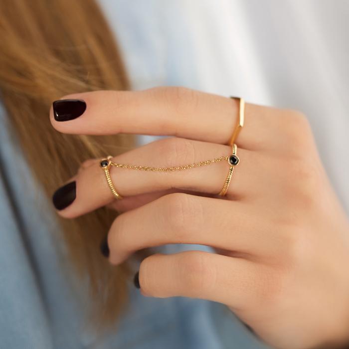حلقه طلا تک نگین متصل ۲