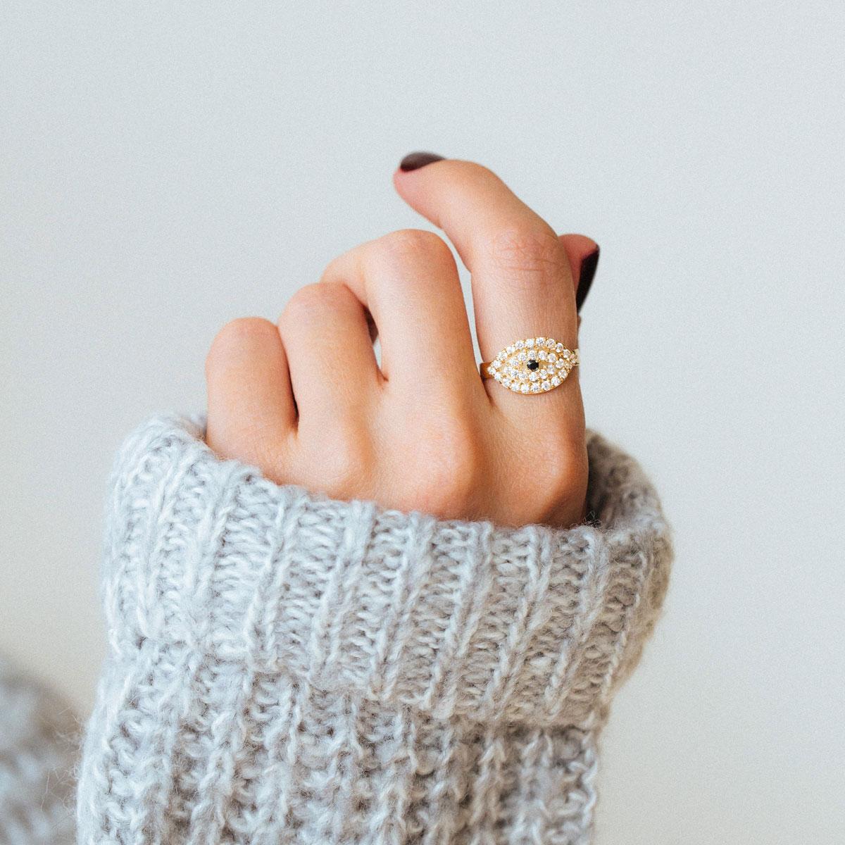 انگشتر طلا چشم نگین دار ۲