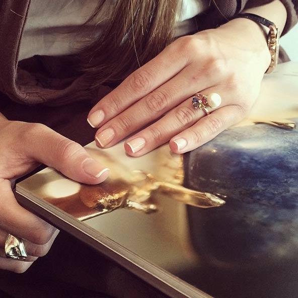 انگشتر طلا Multicolour و مروارید