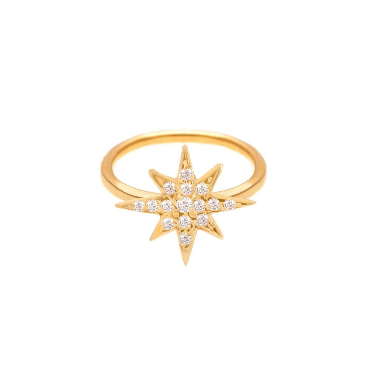 پرسته انگشتر طلا تک ستاره نگین دار