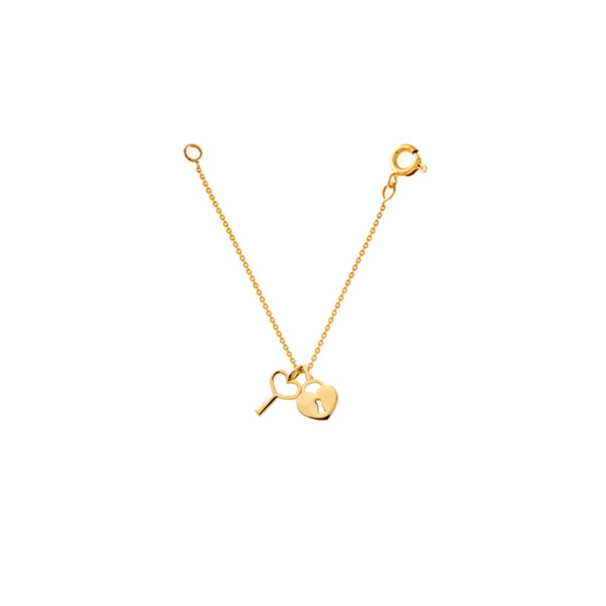 آویز ساعت طلا قفل قلب و کلید