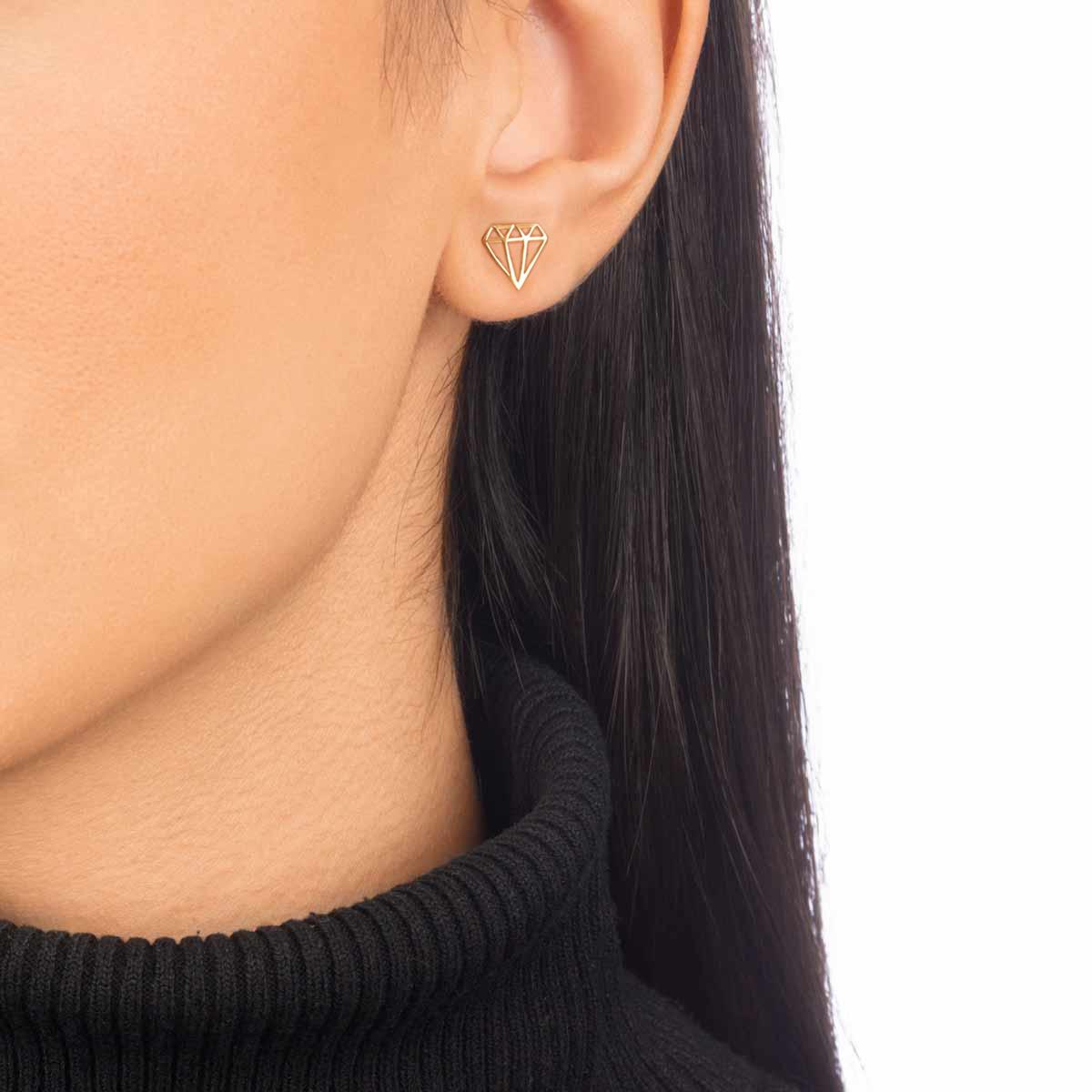 گوشواره طلا الماس کوچک