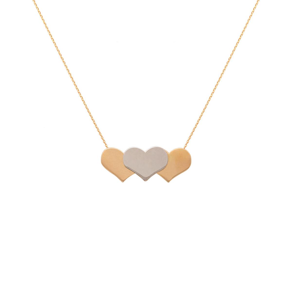 پرسته گردنبند طلا سه قلب