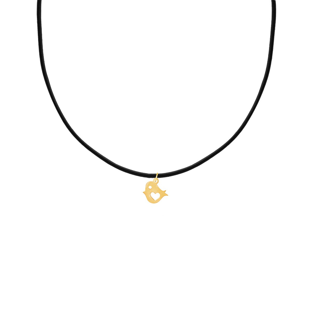 پرسته گردنبند طلا گنجشک و قلب