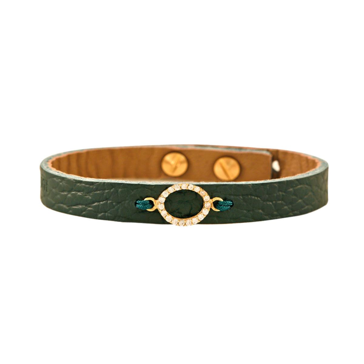 دستبند طلا بیضی کوچک نگین دار