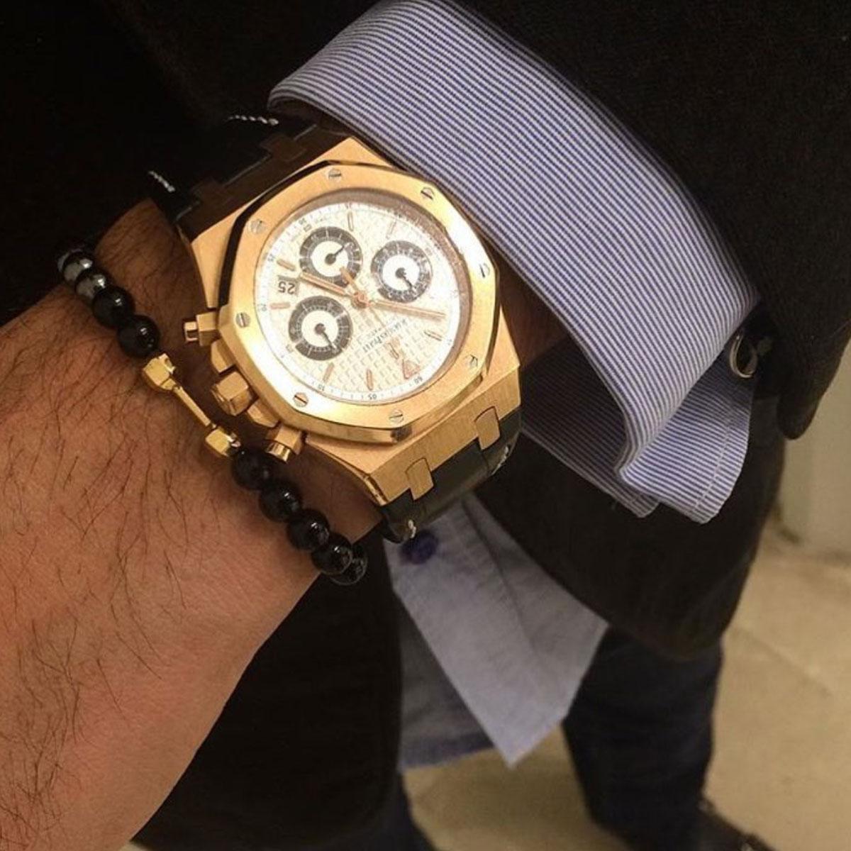 دستبند طلا سنگی دمبل