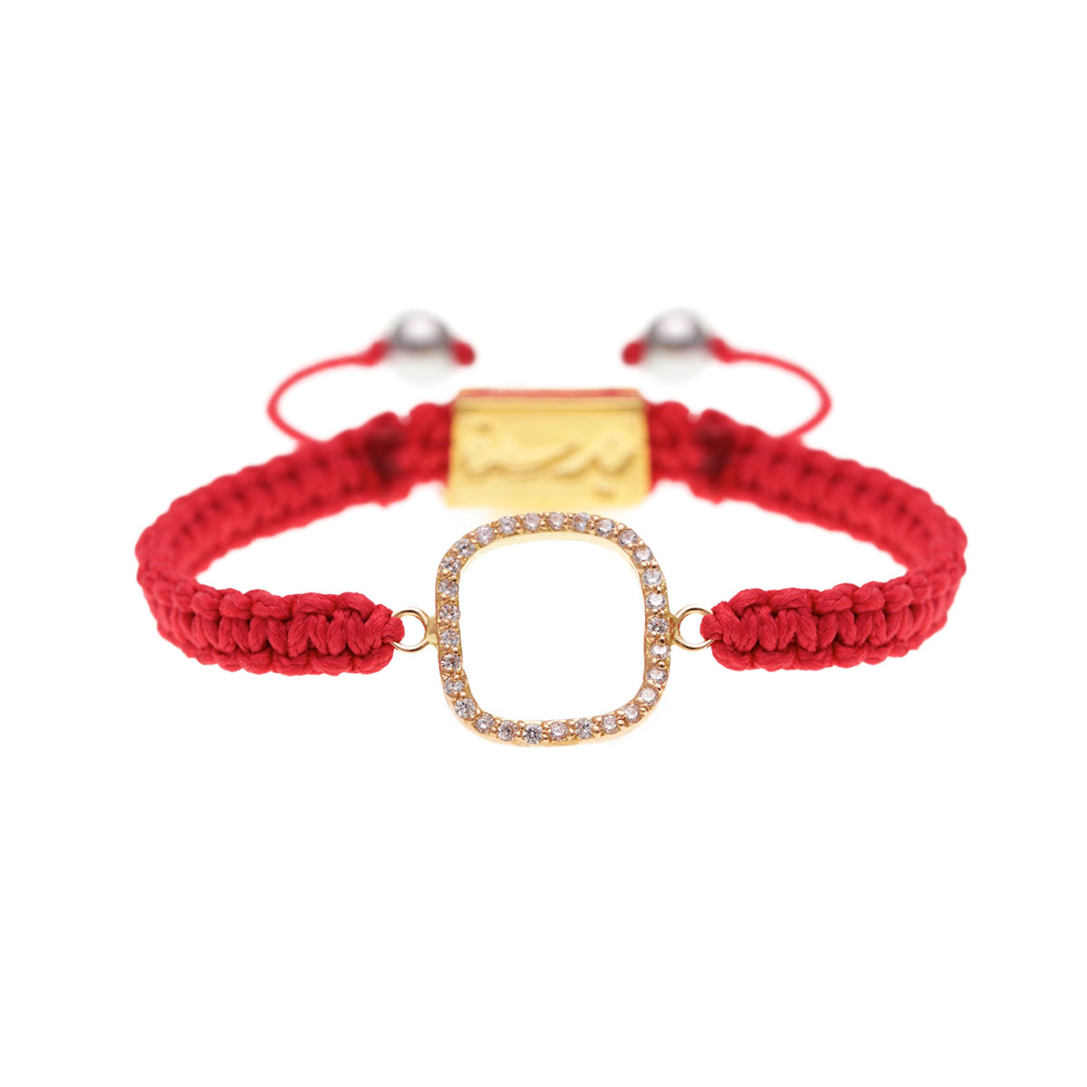 دستبند طلا مربع نگین دار