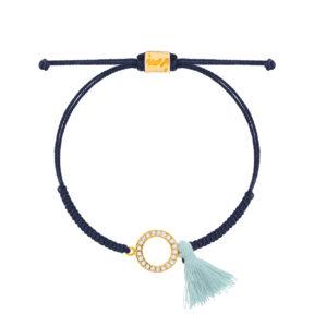 دستبند طلا بافت دایره نگین دار و منگوله
