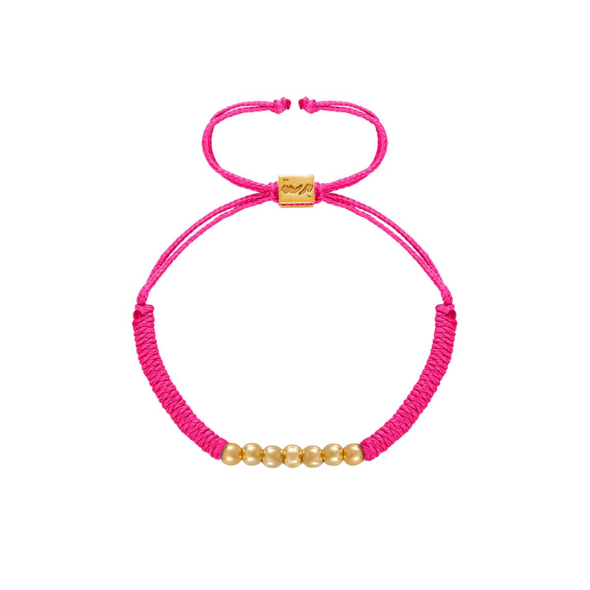 دستبند طلا بافت هفت گوی صورتی