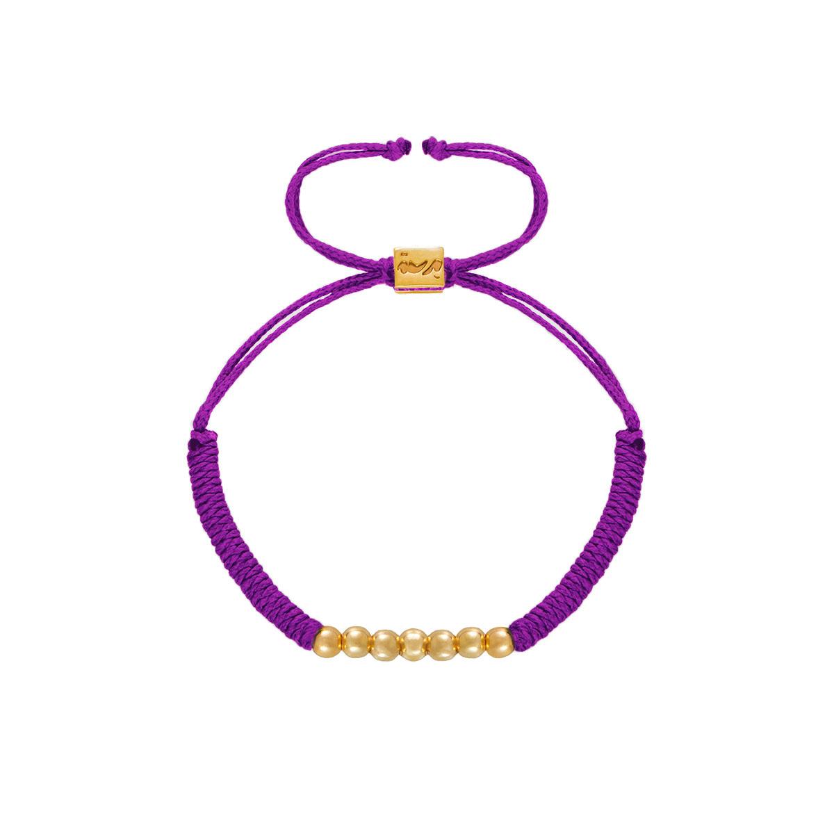 دستبند طلا بافت هفت گوی بنفش
