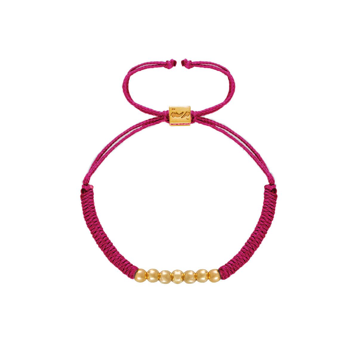 دستبند طلا بافت هفت گوی سرخابی