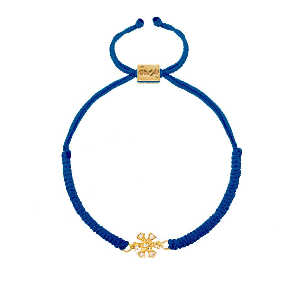 دستبند طلا بافت دانه برف نگین دار