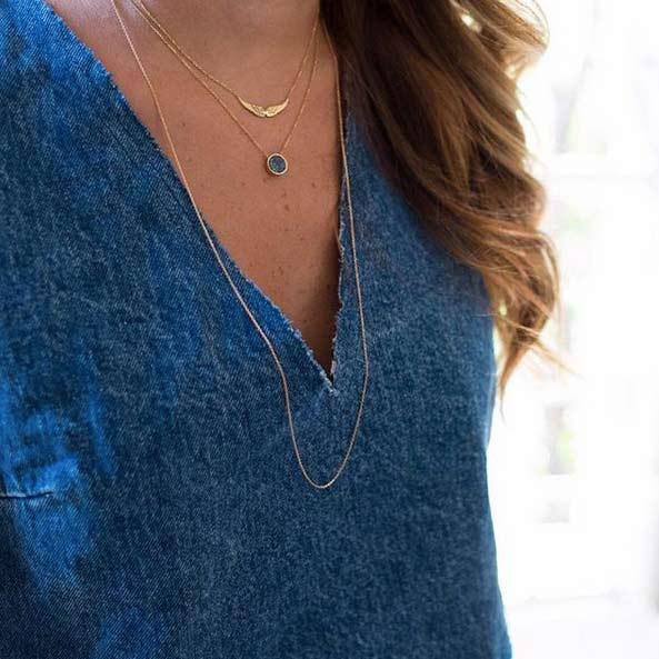 گردنبند طلا کوارتز آبی کوچک