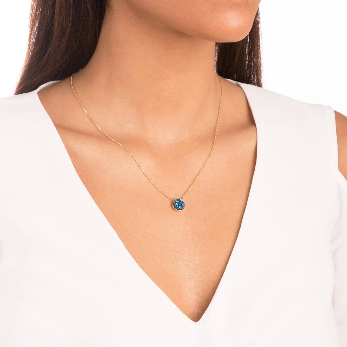 پرسته گردنبند طلا کوارتز آبی کوچک