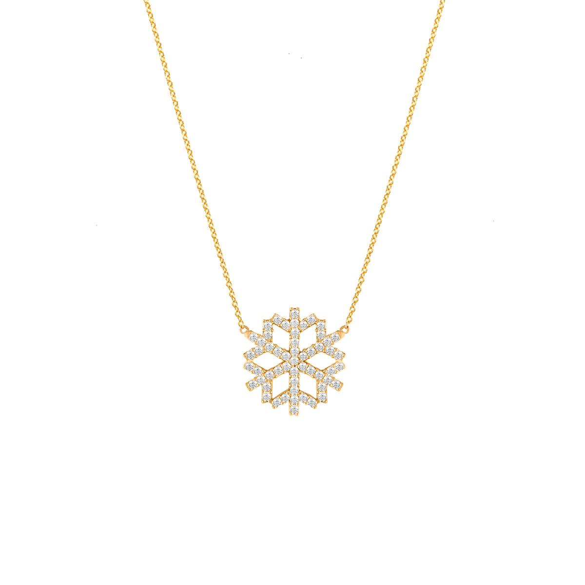 پرسته گردنبند طلا دانه برف نگین دار