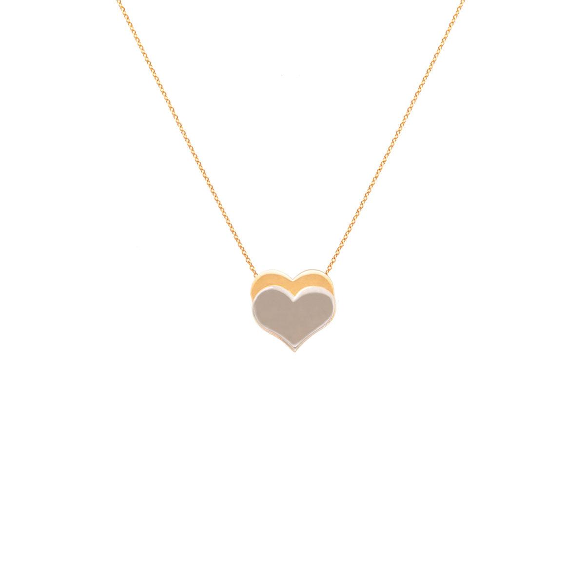 پرسته گردنبند طلا دو قلب